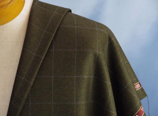 ■KITON・キトンのスパンカシミアのジャケット生地・緑茶格子