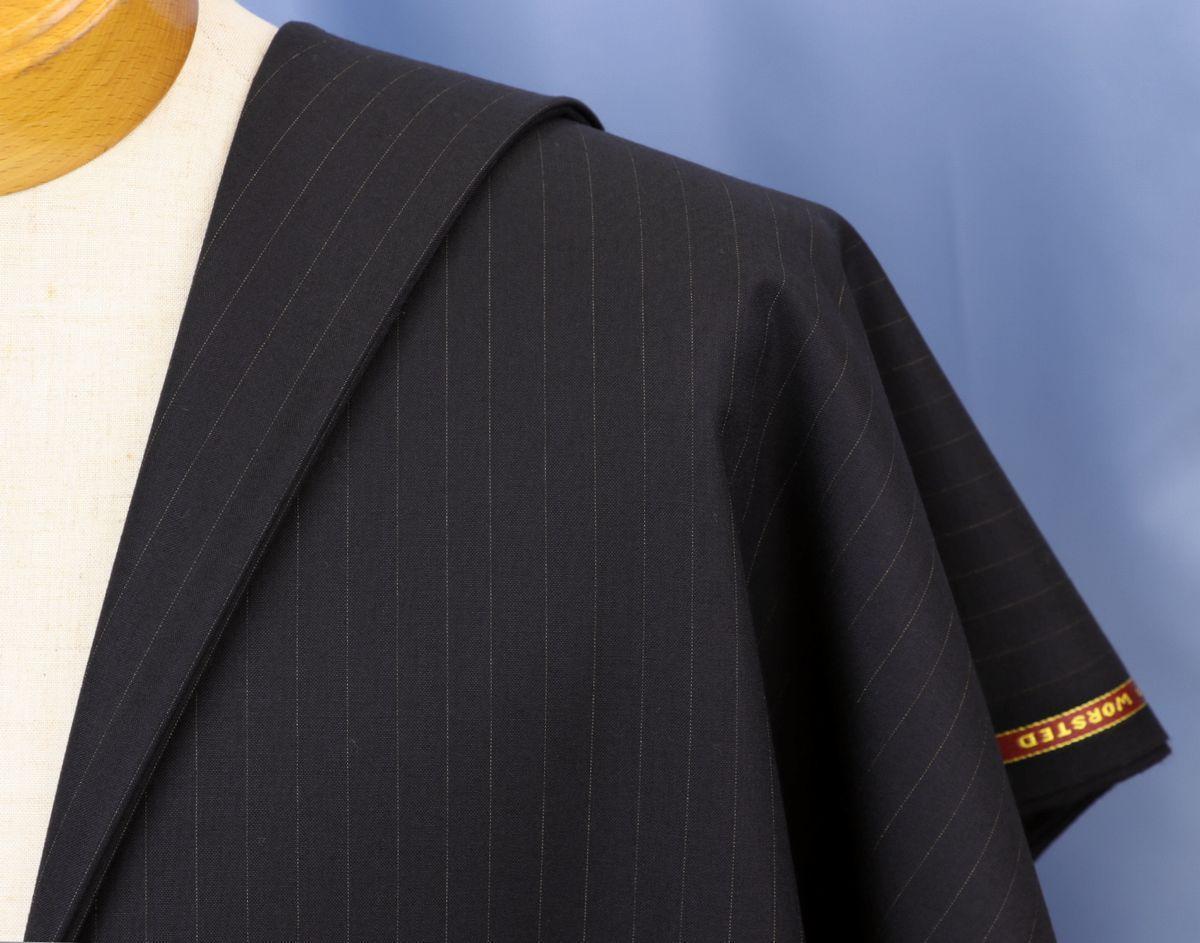 ★激レア&超高級服地・黒紺に金のペンシルストライプ・3シーズンでOK・ベースはスーパー150